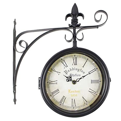 RD Reloj de Pared Paddington Station London 1854 Estaciòn Forja Negro