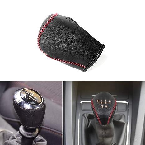 Auto rutschfest Schaltknauf Abdeckung Manuelle Naht rutschfest weiches Leder Auto-Innendekoration Schwarz mit rotem Faden