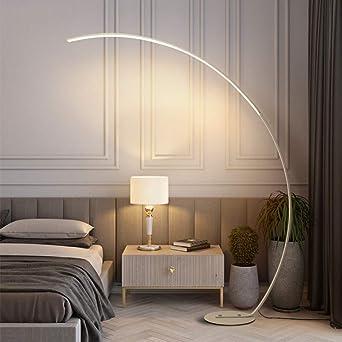 QJUZO Lampara pie Acabado Aluminio, Lampara de pie Moderna Lampara pie Arco LED Regulable Luz de Pie para Salon Dormitorio Estudio y Leer Luz Cuidado Ojos Bajo Consumo, 25W,Blanco: Amazon.es: Iluminación