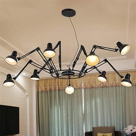 Lámpara de Araña negra Araña grande estilo 9 cabezas ...