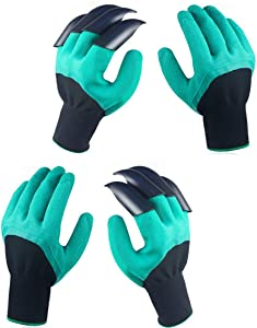 2 Pairs Garden Genie Gloves with Claws, Breathable for Women & Men Gloves - for Digging and Planting, Best Gift for Gardener