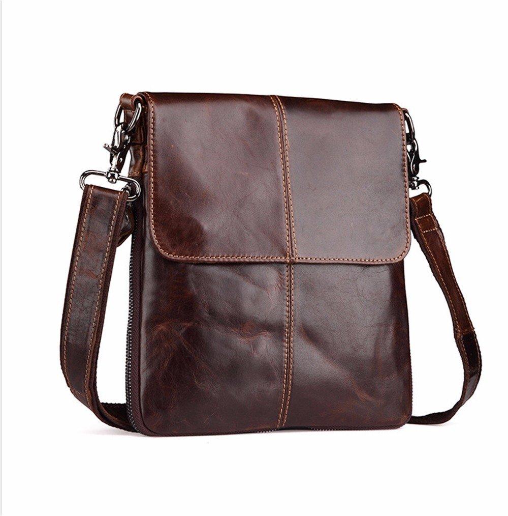 WanJiaHerrenhop Leder Taschen Einzelne Schulter Messenger Bag Männer Retro Leder Tasche, 25 x 2 x 26 cm