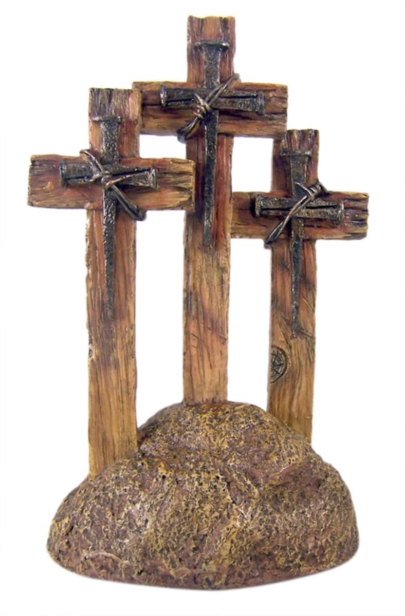 DeLeon Three Standing Nail Crosses on Top of Rock, 11 Inch