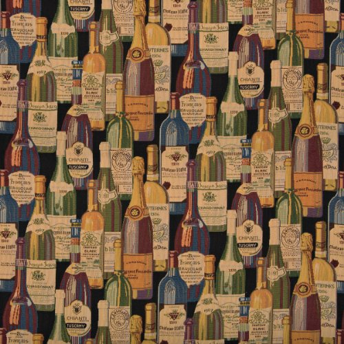 Wine Cellar Multi Color Bottles Theme Tapestry Upholstery Fabric by the yard