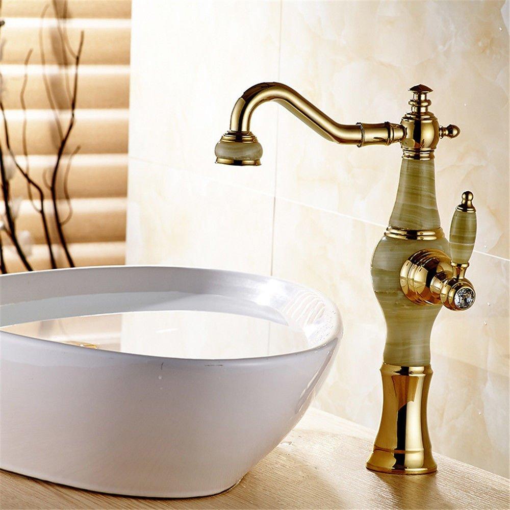 JingJingnet タップキッチンタップ洗面台の蛇口冷たいとお湯のミキサーバスルームのミキサー洗面器のミキサータップフル銅ゴールドアンティークヘッドアップクイックオープニングA用キッチンまたはバスルームのタップ (Color : A) B07S79HRTN A