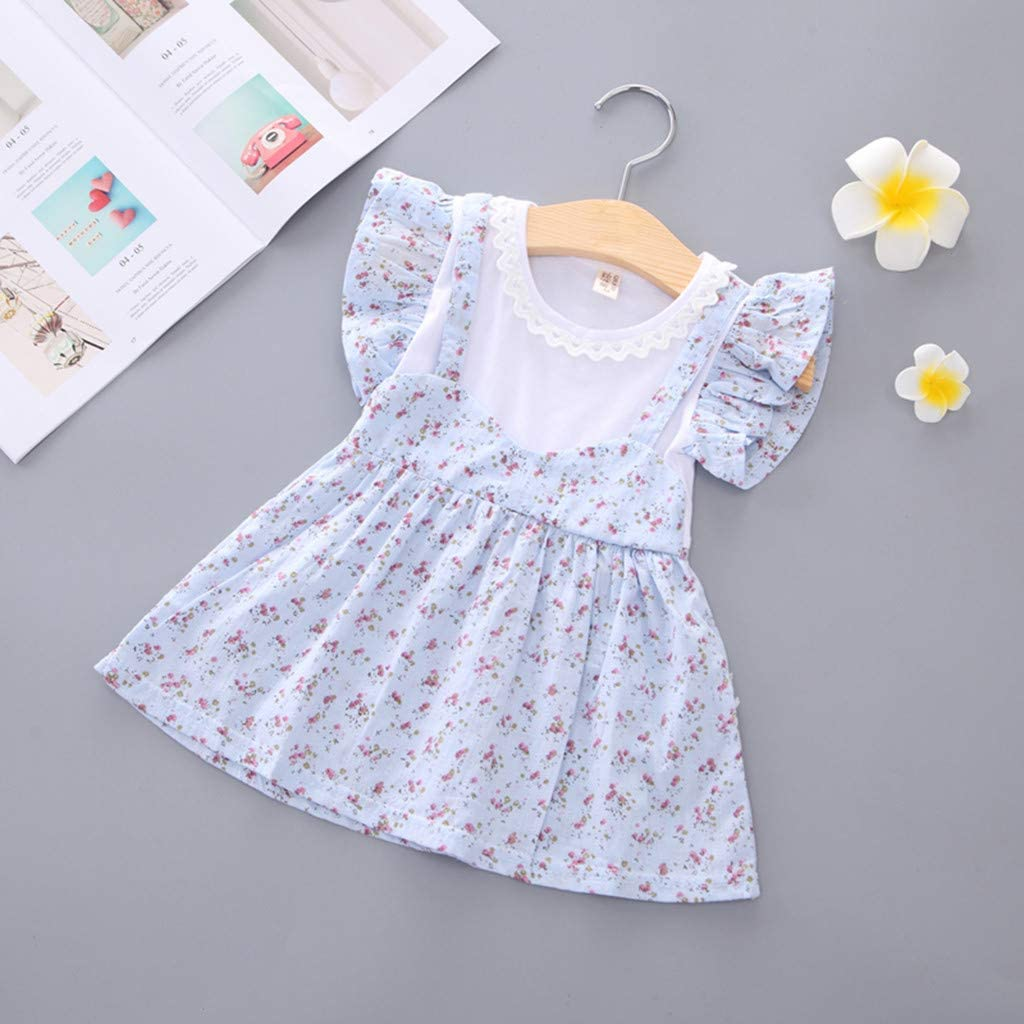 ❤️Rolayllove❤️ Newborn Infant Baby Toddler Girls Dresses Kids Tutu Flower Print Birthday Wedding Party Playwear Outfits