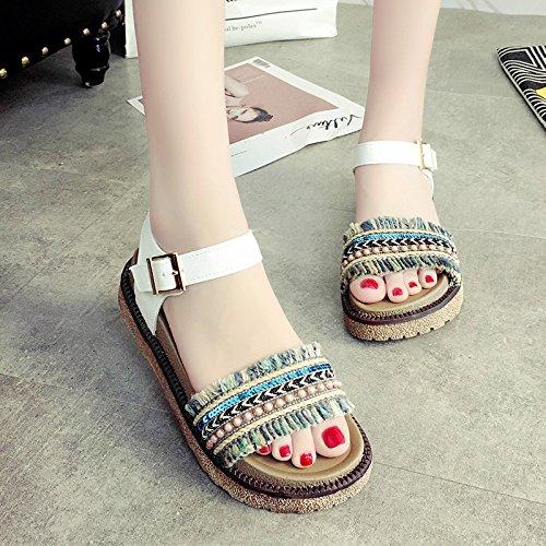 zapatos verano suela plana mujer de RUGAI de de UE gruesa Sandalias White nOYxvnqwgZ