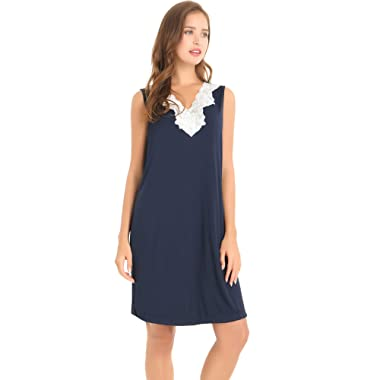 Amorbella Womens Soft Bamboo Sleep Shirt Sleeveless Nightgown V Neck Night Shirt