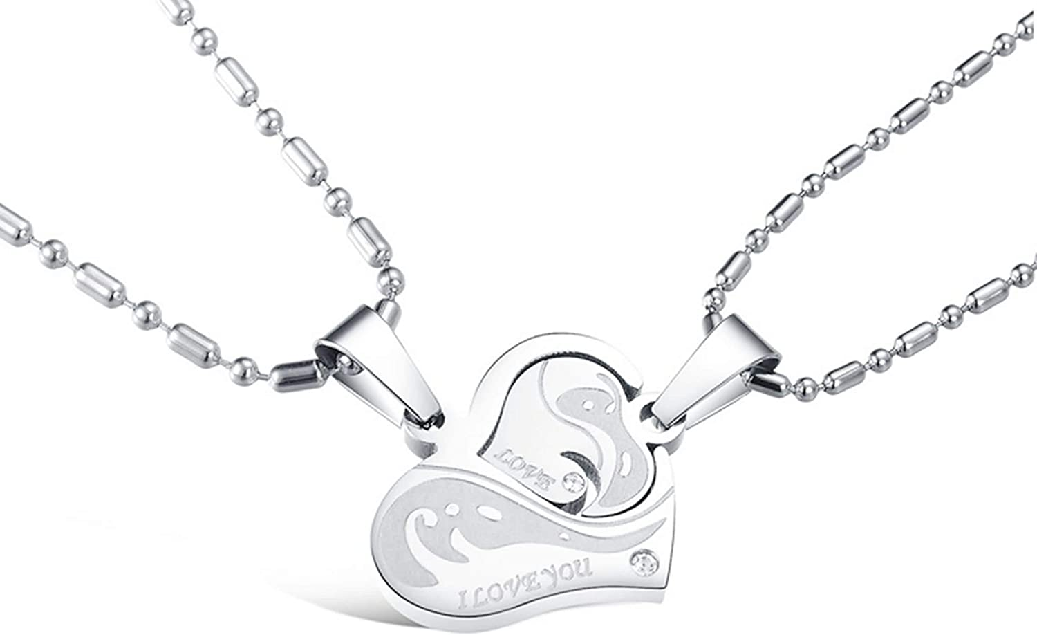Couple Stainless Steel Pendant Necklace For mens womens Love Heart Puzzle Crystal CZ Zirconia Silver Aooaz Jewelry