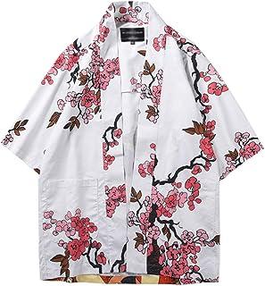 Men Japanese Kimono 3/4 Sleeve Jacket Cardigan Print Loose Sleepwear