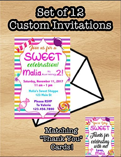 amazon com set of 12 candy themed birthday invitations candyland