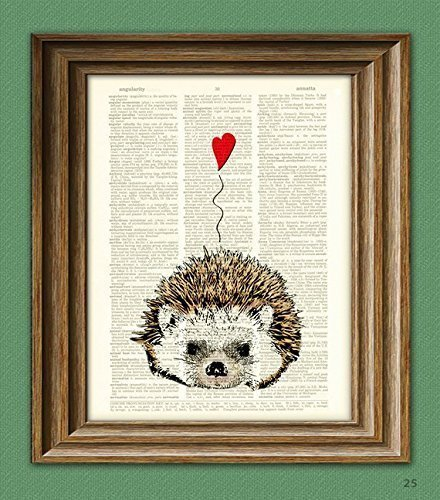 I Love You Valentine HEDGEHOG with heart print over an upcycled vintage dictionary page book art - Hedgehog Print