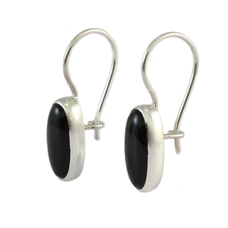 Pendientes Colgantes Hechos a Mano Con Piedras Preciosas De Ónice Negro Ovalado Natural De Plata Esterlina Para Mujer