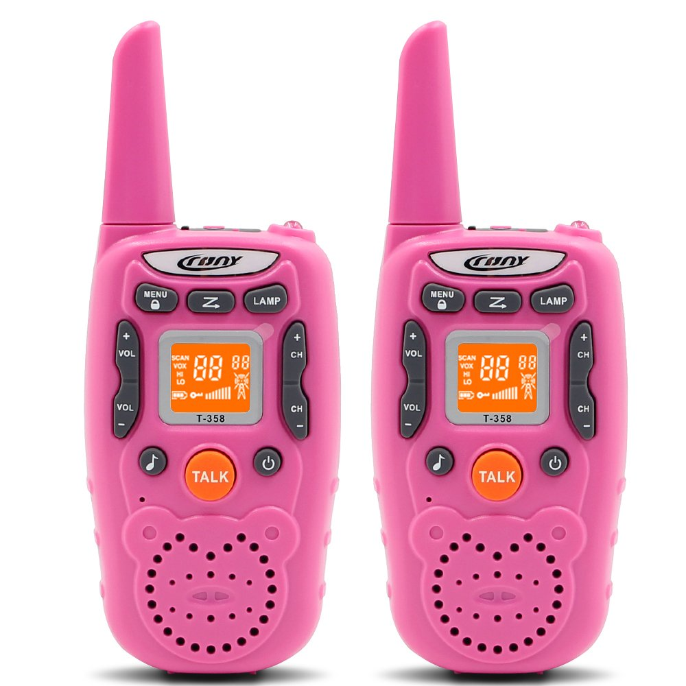 CRONY Walkie Talkies for Kids Girls T-358 22 Channel Two-Way Radios with 3 Miles Range FRS/GMRS Handheld Mini Walkie Talkie Toys for Girls Boys Children (Pack of 2, Pink)