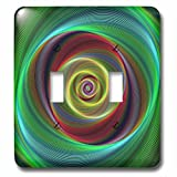 3dRose David Zydd - Colorful Abstract Designs - Time Travel - colorful twisting curved stripes - Light Switch Covers - double toggle switch (lsp_286777_2)