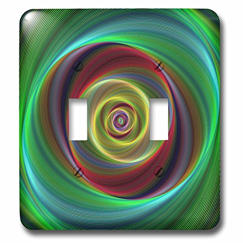 3dRose David Zydd - Colorful Abstract Designs - Time Travel - colorful twisting curved stripes - Light Switch Covers - double toggle switch (lsp_286777_2) by 3dRose