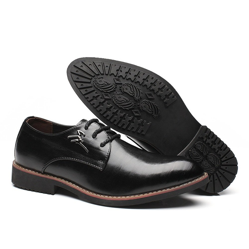 Douhuayu Mens Business Oxfords Matte PU Leather Vamp Lace up Block Heel Pointed Toe Lined Shoes