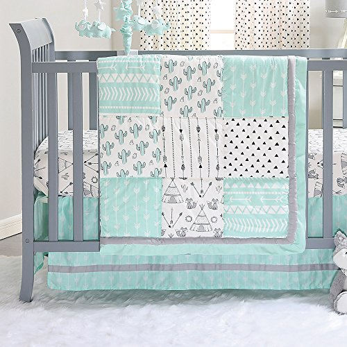 Mint Green Southwest Patchwork 3 Piece Crib Bedding Set by The Peanut - Bedding Crib Collection West