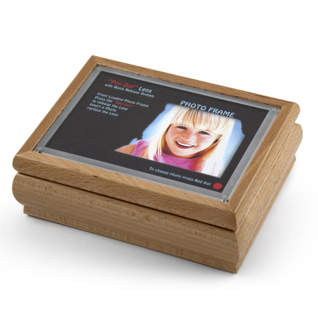 4'' X 6'' Light Wood Tone Photo Frame Music Box With New ''Pop-Out'' Lens System - Love is Blue (L'amour est Bleu) - SWISS by MusicBoxAttic (Image #1)