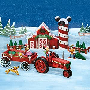Disney Mickey Mouse Christmas Sculpture Set: Bringing Home The Tree With Mickey Mouse by Hawthorne Village