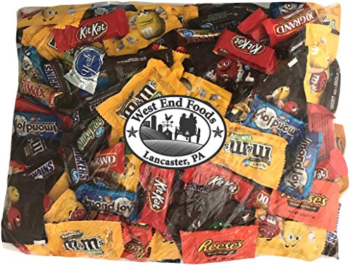 Chocolate Candy (90 oz) Bulk Variety Pack Reese's Peanut Butter Cups Snickers Bars York Peppermint Patties Twix Almond Joy Kit Kat M&Ms Peanut M&Ms Milk Chocolate 100 Grand Bars Milky -
