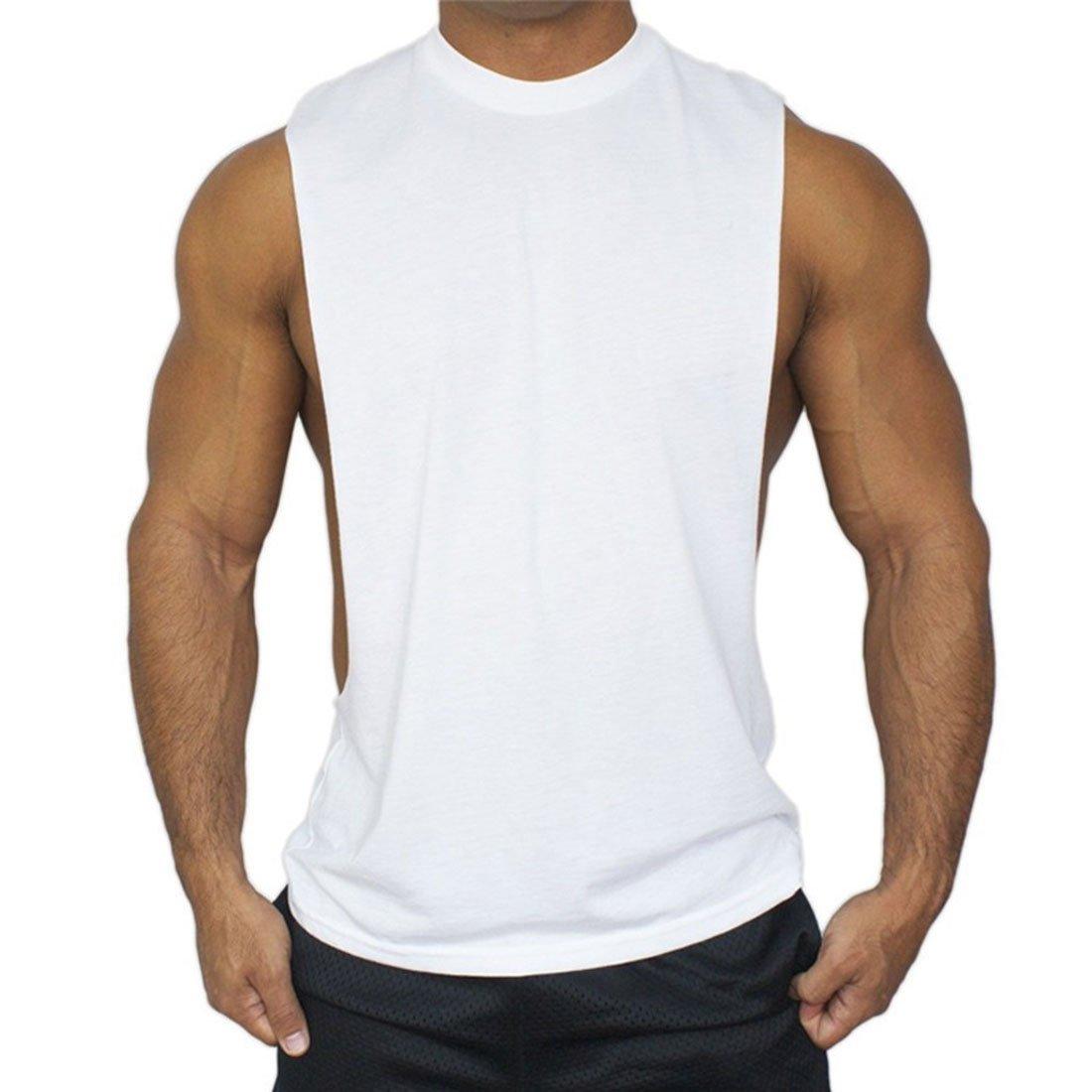 Boomly Uomo Colore Puro Sportivo Senza Maniche Canotte Spalla Bordo aperto Casual Cotone T-Shirt per Fitness