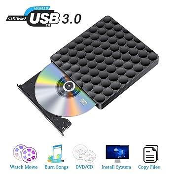 Grabadora DVD Externa USB 3.0 Rápido Lector DVD Externo Portátil Slim Grabadora Reproductor de CD/DVD Ultra Slim Player para Win7 / 8.1/10 / ...