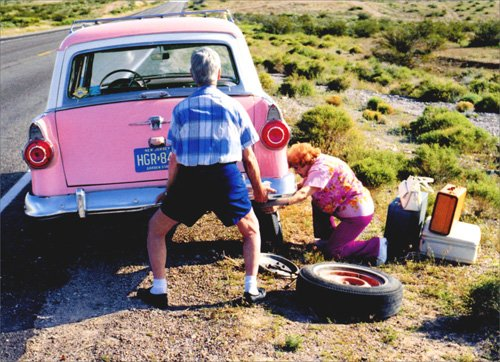 Old Couple Changing Tire Funny Anniversary (Best Avanti Press Grandma Cards)