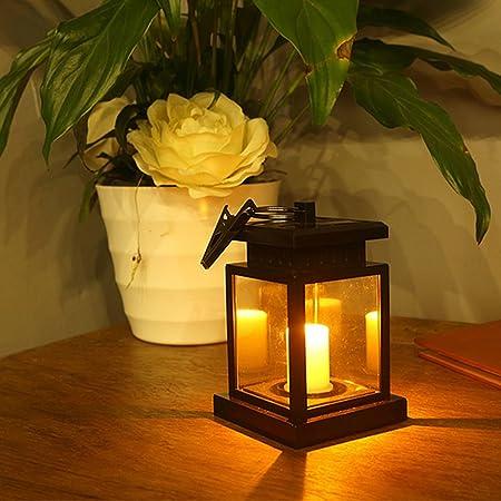 Galapara Linterna Solar con Vela Efecto Luz policristalino de LED Solar Jardín Lámpara,Estilo Vintage, Exterior Iluminación Balcón Jardín Faroles de Decoracion 5.12 * 2.16 * 4,53 en(Sin batería): Amazon.es: Hogar