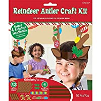"Amscan Festive Christmas Reindeer Antler Craft Kit Party Supply, Multicolor, 7 1/2"" x 9"""