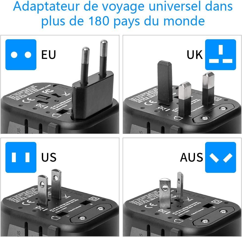 Adaptateur De Voyage Adaptateur Universel Chargeur Mural USB Tout en Un Adaptateur Secteur Mondial avec Ports USB pour l/'Europe UK US AU Chine Irlande Tha/ïlande 180 2 USB des Pays