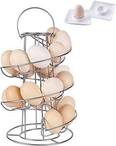 Egg Skelter with 2 Egg Cups, Iron Egg Holder, Spiral Design Metal Modern Egg Dispenser Drying Rack for Egg Storage Organizer, Silver