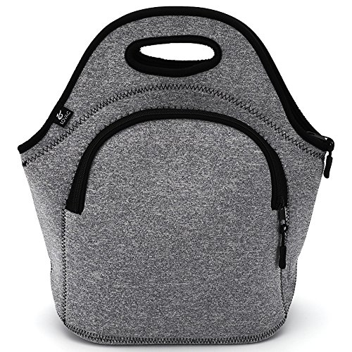 Large Neoprene Lunch Bag,LOVAC Thick Insulated Lunch Bag - Durable & Waterproof Lunch Tote With Zipper For Outdoor Travel Work School (Grey)