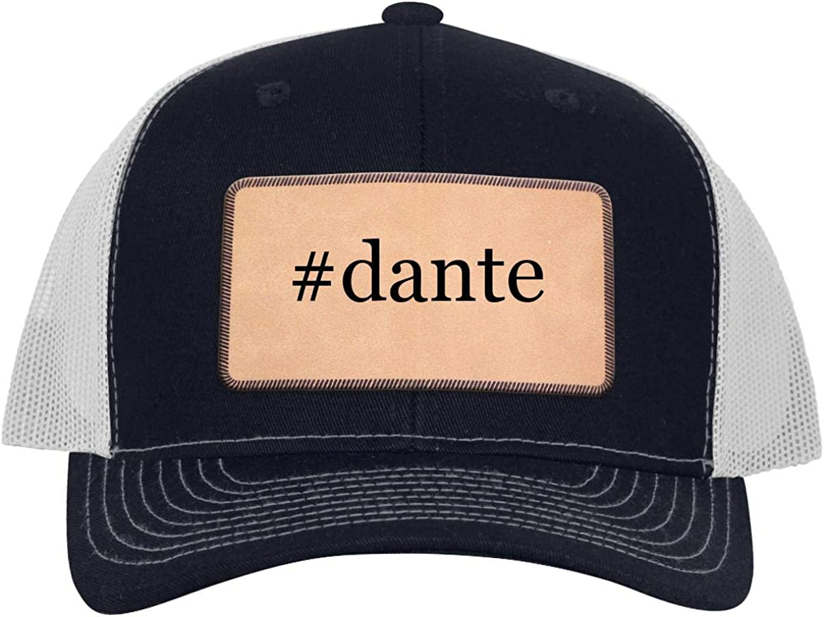 #Dante - Leather Hashtag Light Brown Patch Engraved Trucker Hat