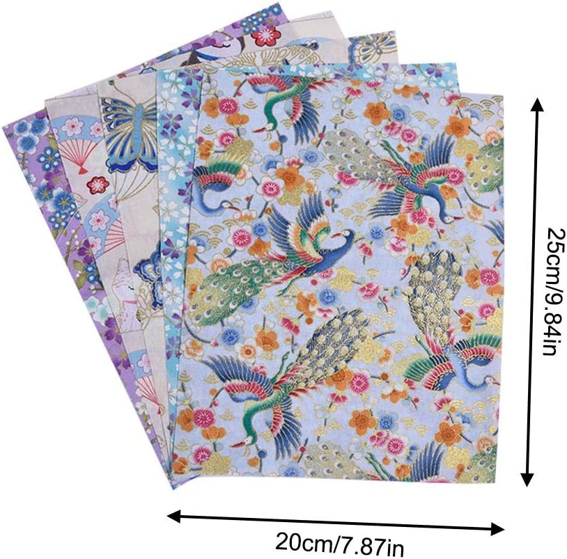 Pattern Cotton Fabric 5 PCS Japanese Style Cotton Fabric 20/×25cm Fat Quarters Quilting Fabric Bundles for Crafts Sewing Quilting Patchwork DIY Floral Fabric Patchwork