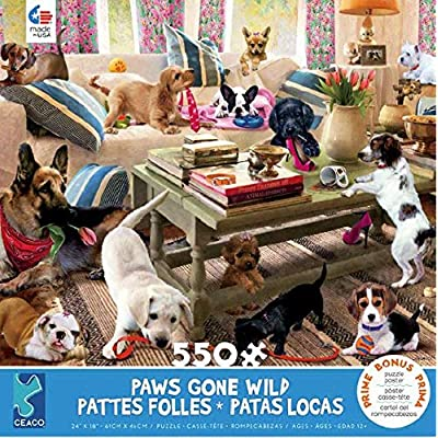 Paws Gone Wild Livingroom Rompers Puzzle - 550Piece: Toys & Games