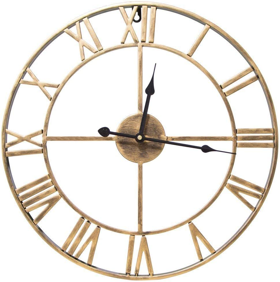 Wall Clocks Home Ruiyif 20 Inch Silent Wall Clock Non Ticking Metal Vintage Unique Gold Wall Clocks Large Decorative Kitchen Living Room Office Bedroom
