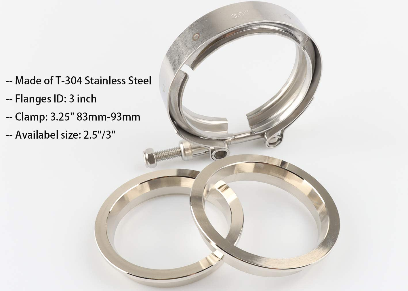 V-Band Clamp Flange Kit 3in SS Vband exhaust clamp with Male Female Flange for Turbo Downpipes Exhaust Systems 3 Inch Stainless Steel V Band Clamp