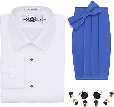 Camisa de Esmoquin Blanca para Hombre, Pajarita y cornudo, Juego de broches Dorados - Azul - 5XL (21 Cuello 38/39 Manga): Amazon.es: Ropa y accesorios
