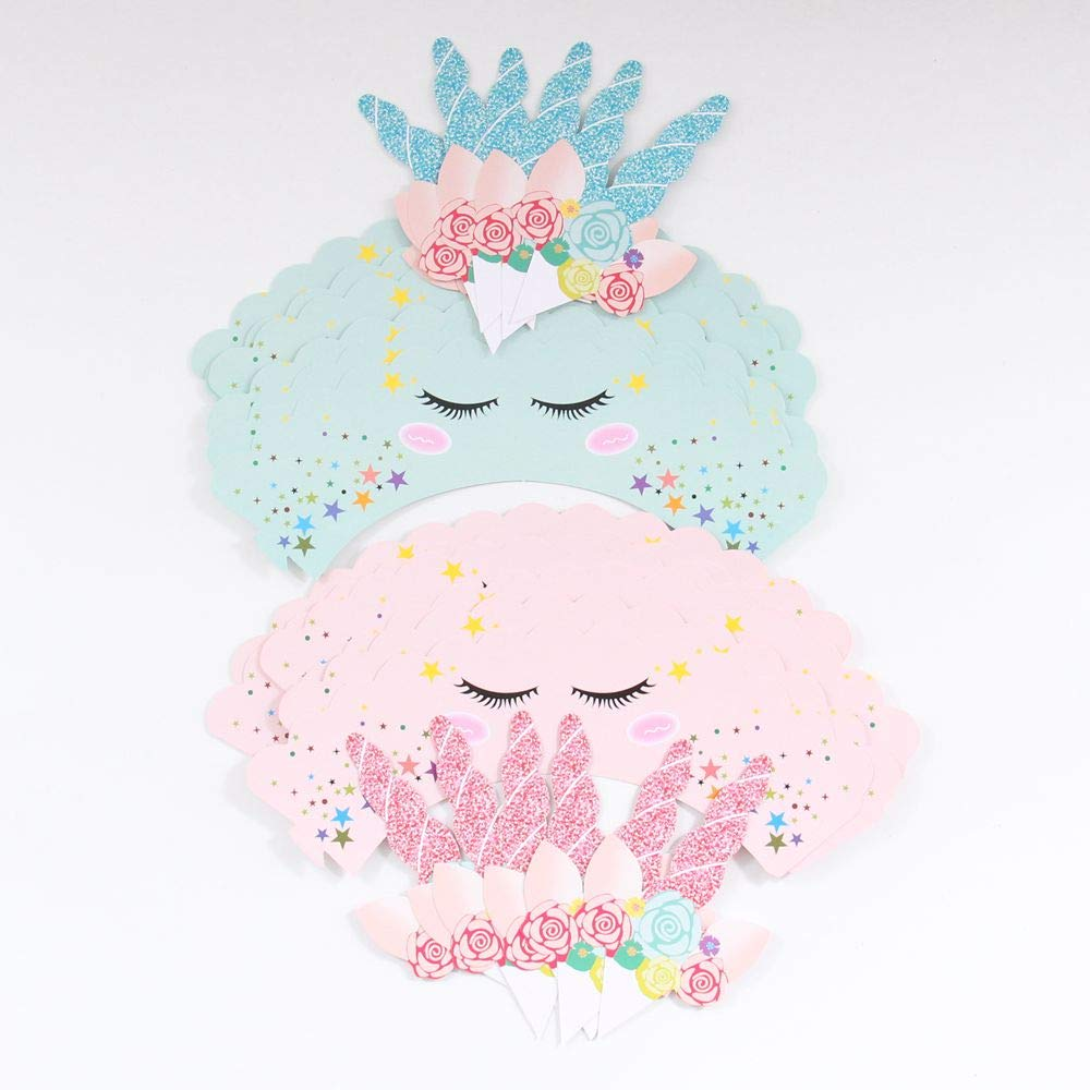 Culturemart 24Pcs/lot Toppers+Wrappers Green Unicorn Paper Cupcake Wrappers Toppers Birthday Party Decoration Kids Cake Decorations