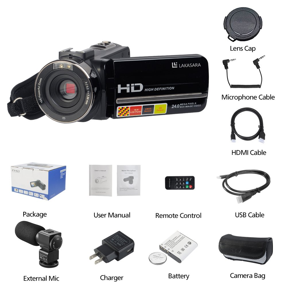 Camera Camcorders, LAKASARA Full HD 1080P 24MP IR Night Vision Video Camera Recorder with 16X Digital Zoom 3 Inch LCD Touchscreen and External Microphone Video Camcorder by LAKASARA (Image #6)