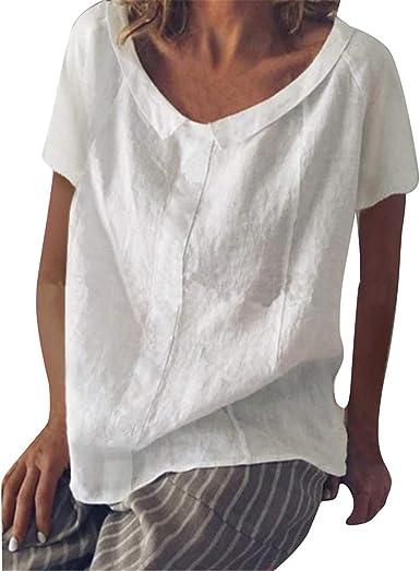 MCYS - Camiseta de Lino para Mujer, Moderna, Suelta, de algodón y Lino Blanco XXL: Amazon.es: Ropa y accesorios
