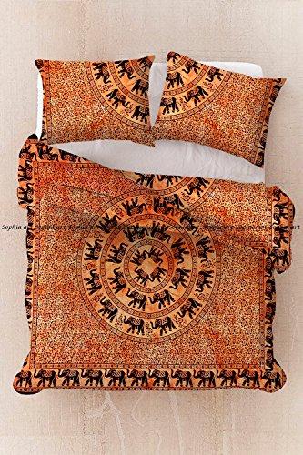Sophia Art Exclusive Tye Dye Elephant Tree Reversibe Duvet Hippie Bohemain Quilt Cover Cotton Mandala Duvet Cover, Boho Mandala Duvet Cover with Pilow Cover (Orange) by Sophia Art