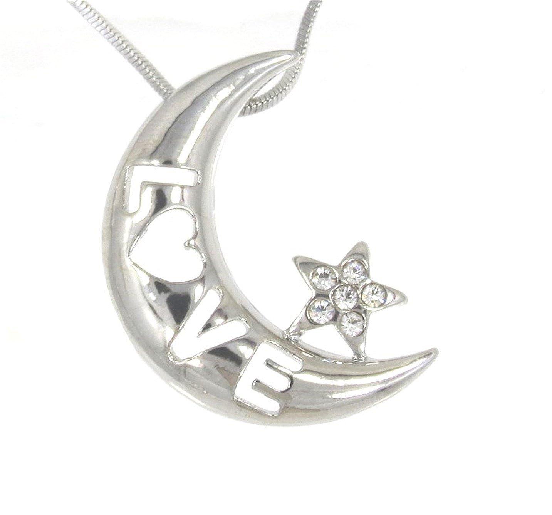 Sparkleshop Crescent Moon Star Pendant Charm Necklace New