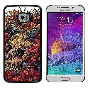 Be Good Phone Accessory // Dura Cáscara cubierta Protectora Caso Carcasa Funda de Protección para Samsung Galaxy S6 EDGE SM-G925 // Nature Birds Decay Nature Skull Death