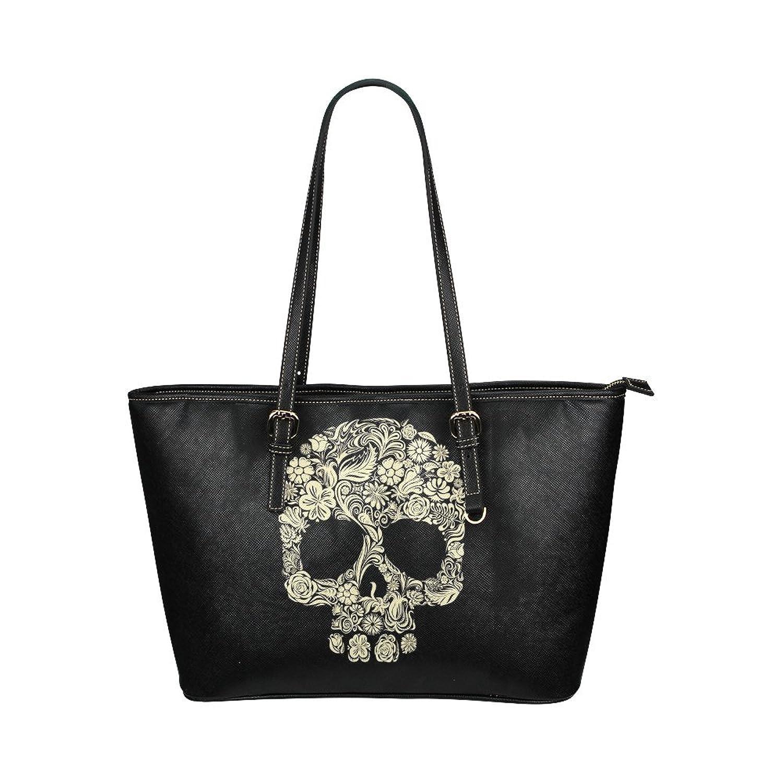 WakerPk Colorful Skull Bag Custom PU Leather Handbag/Shoulder Bag for Ladies Twin Sides Big