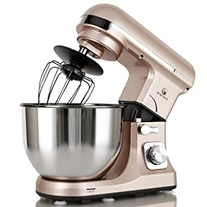 MURENKING Professional Stand Mixer MK37A 500W 5-Qt Bowl 6-Speed Tilt-Head Food Electric Mixer Kitchen Machine,Plastic (Champagne)