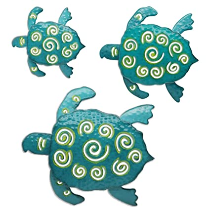 Juegoal Metal Wall Art Sea Turtles Coastal Wall Decor Sculpture Hanging For Indoor Outdoor Living Room Bedroom Bathroom Garden 3 Pack