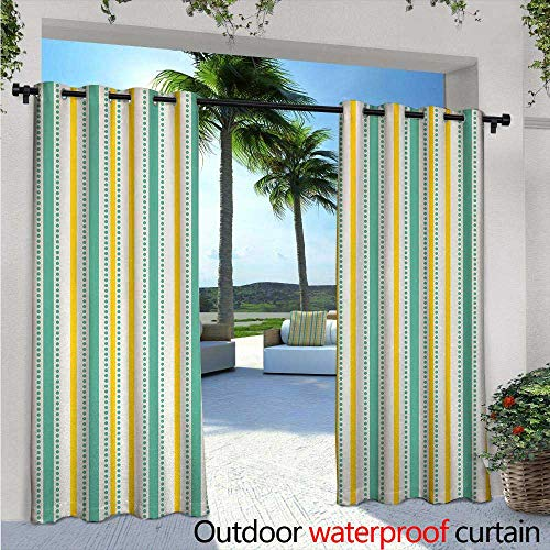 c Indoor/Outdoor Single Panel Print Window Curtain W72 x L96 Summer Season Inspired Exotic Toned Vertical Stripes and Dots Abstract Silver Grommet Top Drape Seafoam Yellow White ()