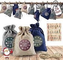 AODOOR 24 Adventskalender zum Befüllen, Weihnachten Geschenksäckchen Bastelset mit 1-24 Adventszahlen Aufkleber, Natur...